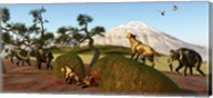 A family of Saber Toothed Tigers watch a herd of Woolly Mammoths Fine-Art Print