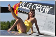 Cute pin-up girl sitting on the wing of a P-51 Mustang Fine-Art Print