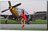Sexy 1940's style pin-up girl posing with a P-51 Mustang Fine-Art Print