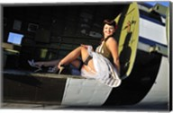 Sexy 1940's style pin-up girl sitting inside of a C-47 Skytrain aircraft Fine-Art Print