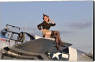 Pin-up girl sitting on the wing of a P-51 Mustang Fine-Art Print