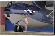 pin-up girl posing with a Catalina seaplane Fine-Art Print