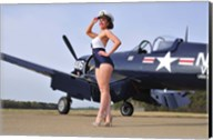 1940's Navy pin-up girl posing with a vintage Corsair aircraft Fine-Art Print