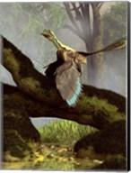 An Archaeopteryx on a log above a stream Fine-Art Print