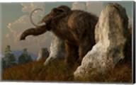 A mammoth standing among stones on a hillside Fine-Art Print