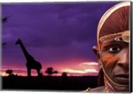 Maasai Warrior with Sunset on the Serengeti, Kenya Fine-Art Print