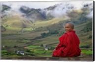 Monk and Farmlands in the Phobjikha Valley, Gangtey Village, Bhutan Fine-Art Print