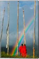 Rainbow and Monks with Praying Flags, Phobjikha Valley, Gangtey Village, Bhutan Fine-Art Print