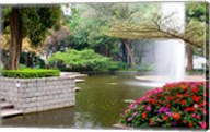 Pond With Fountain in Kowloon Park, Tsim Sha Tsui Area, Kowloon, Hong Kong, China Fine-Art Print