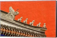 Rooftop figures and colorful wall, Forbidden City, Beijing, China Fine-Art Print