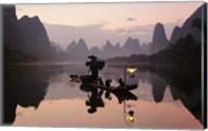 Traditional Chinese Fisherman with Cormorants, Li River, Guilin, China Fine-Art Print