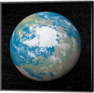 3D rendering of planet Earth centered on the North Pole Fine-Art Print