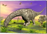 Argentinosaurus eating plants while surrounded by butterflies and flowers Fine-Art Print