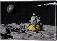 Apollo on surface of moon, with Saturn V rocket in the background Fine-Art Print
