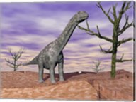 Argentinosaurus standing on the cracked desert ground next to dead trees Fine-Art Print