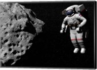 Astronaut exploring an asteroid in outer space Fine-Art Print