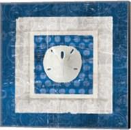 Sea Shell I on Blue Fine-Art Print
