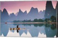 Cormorant fishing at dusk, Li river, Guangxi, China Fine-Art Print