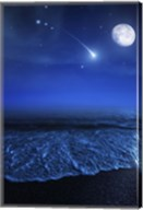 Tranquil ocean at night against starry sky, moon and falling meteorite Fine-Art Print