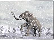 Mammoth walking through a blizzard on mountain Fine-Art Print