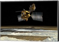 Satellite over the poles of planet Mars Fine-Art Print