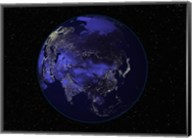 Satellite view of Earth showing city lights at night Fine-Art Print