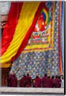 Monks raising a thangka during the Hemis Festival, Ledakh, India Fine-Art Print