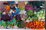 Selling fruit in local market, Goa, India Fine-Art Print