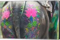 Elephant Decorated with Colorful Painting at Elephant Festival, Jaipur, Rajasthan, India Fine-Art Print