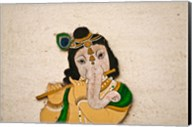 Mural depicting Ganesha, a Hindu deity, inside City Palace, Udaipur, Rajasthan, India Fine-Art Print