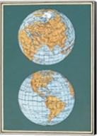 Map of the World's Hemispheres, two views Fine-Art Print