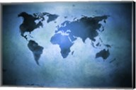 Aged world map on dirty paper Fine-Art Print