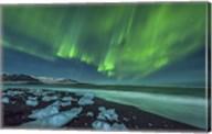 Aurora Borealis over the Ice Beach near Jokulsarlon, Iceland Fine-Art Print