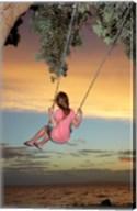 Girl, Rope Swing, Family Fun, Thames, New Zealand Fine-Art Print