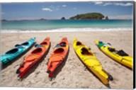 Kayaks on Beach, Hahei, Coromandel Peninsula, North Island, New Zealand Fine-Art Print