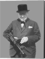 Sir Winston Churchill with a Tommy Gun Fine-Art Print