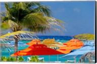 Umbrellas and Shade at Castaway Cay, Bahamas, Caribbean Fine-Art Print