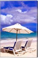 Umbrellas On Dawn Beach, St Maarten, Caribbean Fine-Art Print