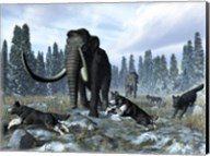A pack of dire wolves crosses paths with two mammoths during the Upper Pleistocene Epoch Fine-Art Print