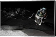 Two Manned Maneuvering Vehicles explore the airless, microgravity environment of a small asteroid Fine-Art Print