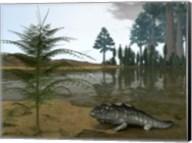 A Late Devonian Ichthyostega emerges from Waters of a Floodplain Fine-Art Print