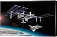 Space Station in Orbit Around Earth with Space Shuttle Fine-Art Print