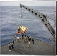 The Apollo Spacecraft Command Module is Recovered Aboard USS Bennington Fine-Art Print