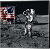 Apollo 17 Astronaut Salutes the United States Flag on the Lunar Surface Fine-Art Print