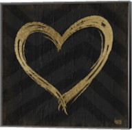 Chevron Sentiments Gold Heart Trio II Fine-Art Print