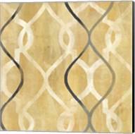 Abstract Waves Black/Gold Tiles II Fine-Art Print