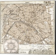Euro Map I - Paris Fine-Art Print