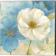 Watercolor Poppies I (Blue/White) Fine-Art Print