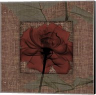 Burlap Burgundy With Leaves 2 Fine-Art Print