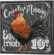 Rooster on Chalkboard I Fine-Art Print